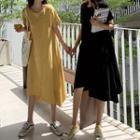 Irregular Hem Short-sleeve Midi T-shirt Dress