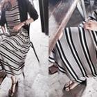 Sleeveless Striped Long Dress