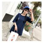 Elbow-sleeve Chinese Character Long T-shirt