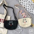 Canvas Cat Embroidered Crossbody Bag