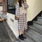 Plaid Midi Dress / Knit Vest