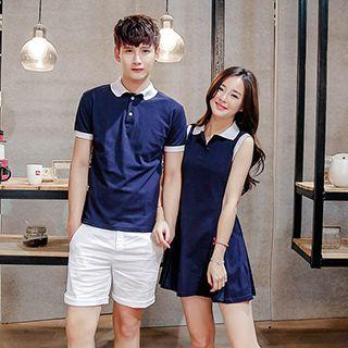 Couple Matching Contrast Trim Short Sleeve Polo T-shirt / Sleeveless Shirt Dress