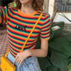 Short-sleeve Lettering Striped Knit Top