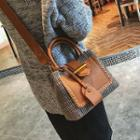 Studded Plaid Shoulder Bag