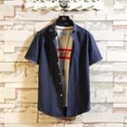 Short-sleeve Print Trim Shirt