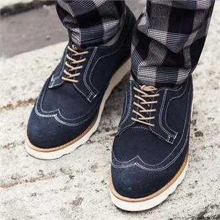 Genuine Leather Wing-tip Oxfords