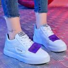 Faux Leather Label Applique Sneakers