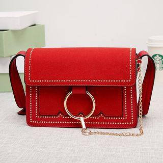 Flap Ring-accent Studded Cross Bag