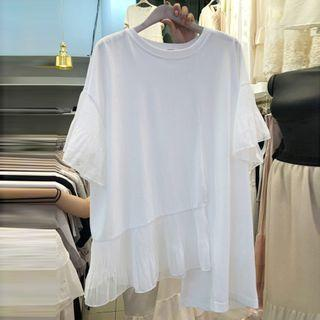 Mesh Panel Short-sleeve Asymmetric Top