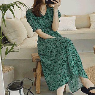 Puff-sleeve Leopard Print Dress