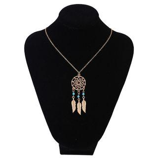 Alloy Dream Catcher Pendant Necklace Gold - One Size