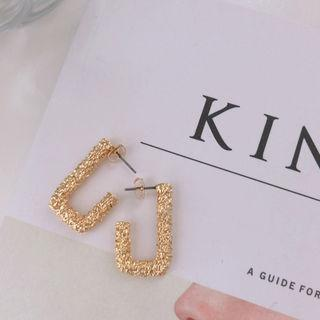 Metallic Square Earrings Gold - One Size