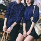 Couple Matching Pinstriped Elbow-sleeve Shirt