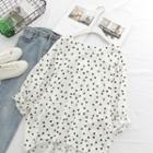 Pattern Short-sleeve Blouse White - One Size