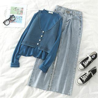 Plain Long-sleeve Top / Camisole Top / High-waist Loose-fit Jeans