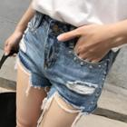 Studded Ripped Denim Shorts