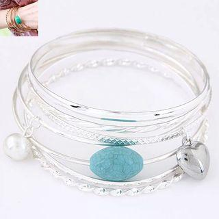 Turquoise Pearl Layered Bangle