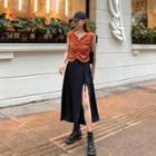 Set: Sleeveless Striped Top + Slit-side Skirt