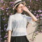 Mock Neck Short-sleeve Lace Top