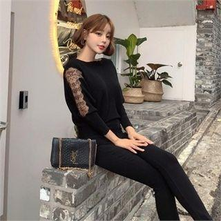 Dolman-sleeve Lace-panel Knit Top Black - One Size