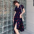 Short Sleeve V-neck Cherry Print Chiffon Wrapped Dress