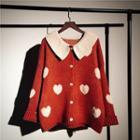 Collared Heart Print Cardigan