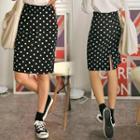Band-waist Dotted Skirt