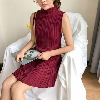 Mock Neck Sleeveless Knit Dress