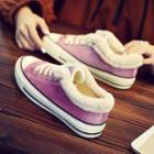 Fleece Trim Lace-up Canvas Sneakers