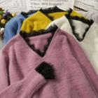 Lace-trim Furry-knit Top