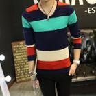 Long-sleeve V-neck Color Block Sweater
