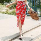 Slit-front Floral H-line Long Skirt
