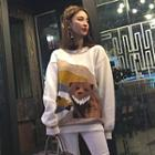 Bear Print Chunky Sweater