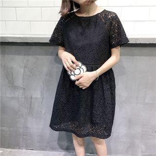 Short-sleeve Paneled Lace Dress