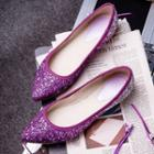 Gradient Sequined Pointy-toe Flats
