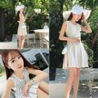 Patterned Sleeveless A-line Knit Dress