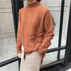 Mock Neck Cable Knit Top