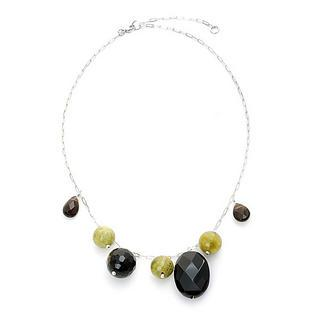 Silver Onyx, Green Turqoise, Smoky Quartz Necklace