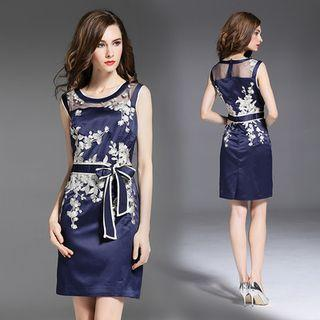 Embroidered Sleeveless Sheath Dress