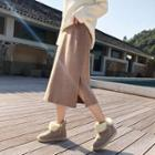 Split Hem Midi A-line Skirt