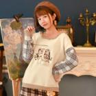 Plaid Panel Embroidered Sweater