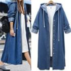 Hooded Denim Button Coat