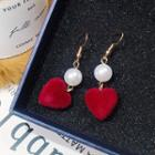Heart Drop Earring Red - One Size