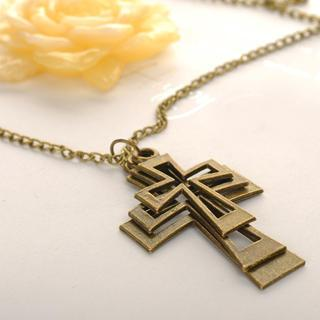 Metal Cross Necklace Copper - One Size