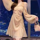 Set: Long-sleeve Cold Shoulder Crinkled Mesh A-line Dress + Camisole Top