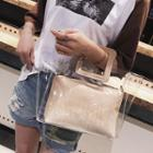 Transparent Tote With Embossed Faux Leather Zip Pouch