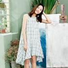 Sleeveless Ruffle Hem Check Midi Dress