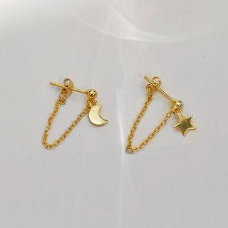 925 Sterling Silver Moon & Star Chained Earring 1 Pair - Gold - One Size