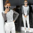 Lace Overlay Houndstooth Long Sleeve Top