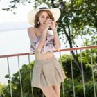 Set: Printed Halter Short-sleeve Swim Top + Swim Skirt